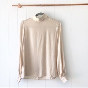LPA • New Nude Silky Turtle Neck Blouse Top